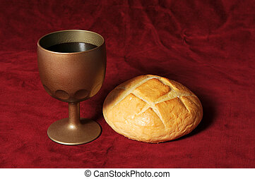 Wine and Bread - Communion elements represented by bread and...