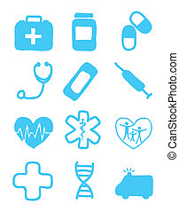 medial icons - medical icons over white background vector...