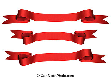 Red Ribbons with Clipping Paths) - Red ribbons with bank...