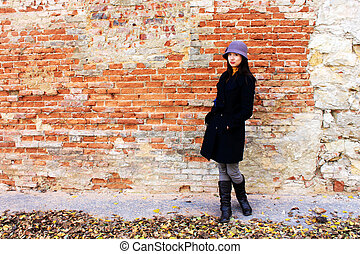 Girl with brick wall - Asian girl with brick wall, this...
