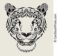 Tiger head ornament - Animal drawing with curl ornament...