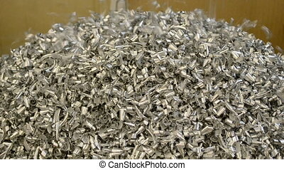 silver metal shaving heap, cuttings - silver metal shaving...