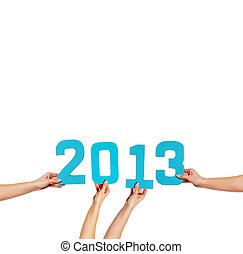 2013 New Year greeting card - 2013 greeting card with blue...