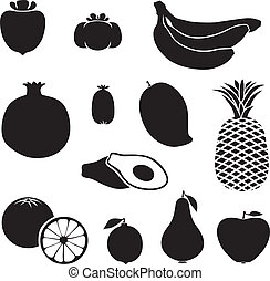 Silhouette fruits - Set of silhouette images of different...