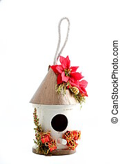 Christmas Bird House - Christmas bird hose on white...