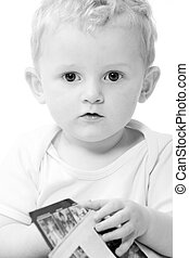 Toddler portrait - Cute caucasian blond toddler ishappy and...
