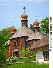 Old wooden Church. Ukraine Pirogovo - Old wooden Orthodox...