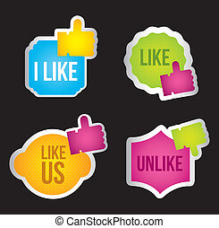 like icon - colorful like icon labels over black background....