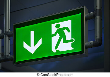 Exit Sign in an Airpot Terminal
