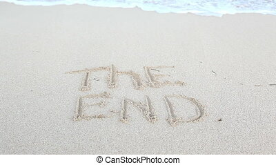 The end - Word the end deleting ocean waves