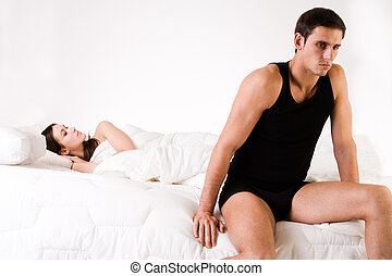 Relation problematic - Young adult couple in the studio on a...