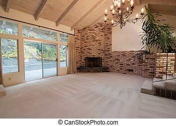 large retro living room, fireplace