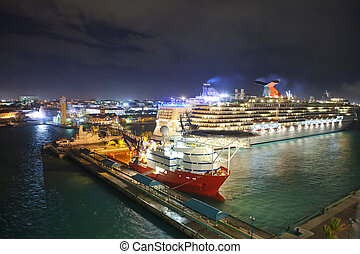 por of nassau, bahamas at night - low everhead view of port...