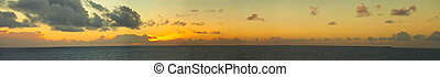 180 degree panorama of island and sunset