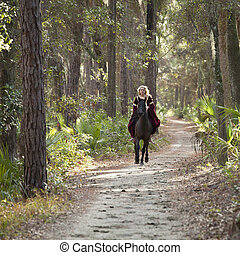 medieval woman on horse galloping - medieval woman on...