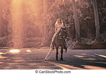 surreal dream scene of woman on horse - surreal scene of...