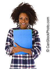 Female afro american with a job application - isolated on...