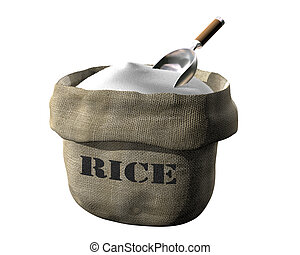 Sack of rice - Isolated illustration of an open sack...