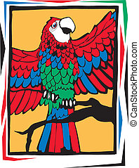 Bright colored parrot - parrot flapping wings