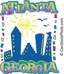 Atlanta Skyline - graphic design of atlanta skyline from...