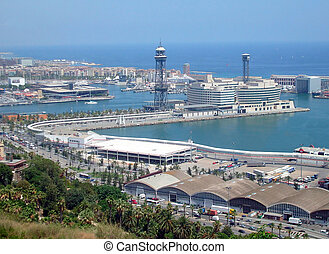 Barcelona Port Spain - Overhead view of busy port terminus,...