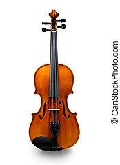 violín, aislado, blanco