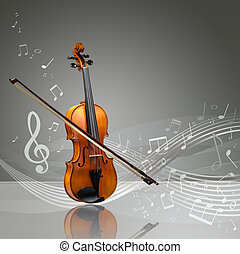 Violin and fiddle stick with musical notes
