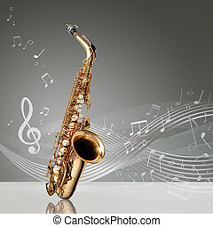Saxophone with musical notes in an empty room, copy space...