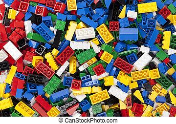 assorted plastic toy bricks - Horizontal image of assorted...
