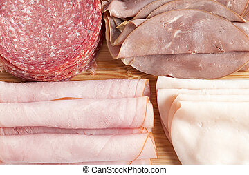 assorted sliced meat - Assorted sliced meat in a macro image