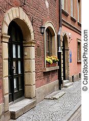 Street scene in Warsaw - Street scene showing houses,...