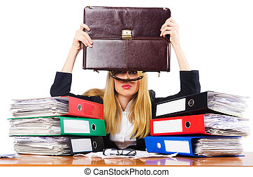 Busy woman with stacks of paper