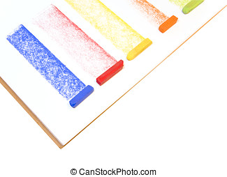 Multicolored chalk pastels - Blue, red, yellow, orange, and...