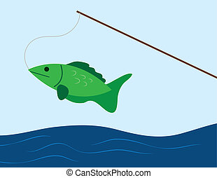 Fish on a Pole - Fish caught on a fishing pole