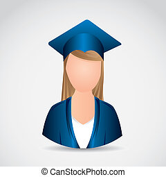 Graduating - Illustration young lady graduating with...