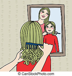 mother and doughter, sisters brushing hair