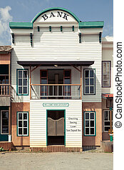 Western style Bank in an old American town