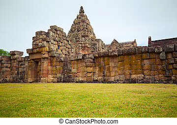Phanom Rung historical park and green grass in Thailand