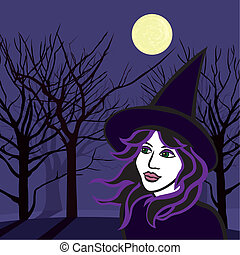 witch with ghosts, halloween vector illustration