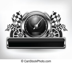 Racing emblem speedometer on white - Racing emblem,...