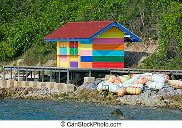 Varicolored beach house, Thailand