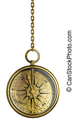 brass antique compass hanging on chain isolated on white -...