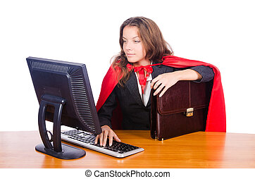 superwoman, trabajador, trabajando, oficina