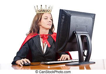 Superwoman, trabajador, corona, trabajando, oficina