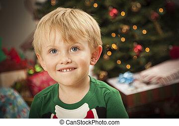 Young Boy Enjoying Christmas Morning Near The Tree - Cute...