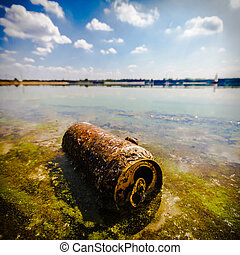 pollution - garbage polluting the natural environment,...