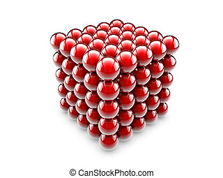 Cube of spheres - A cube made of one undred and twenty five...