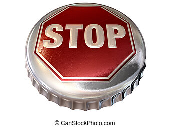 Capped Limit Stop Sign Cap - A regular bottle cap with a...