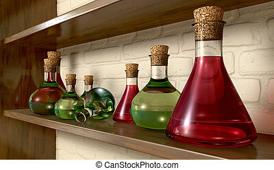 Potion Bottles On A Shelf - A perspective view of a...