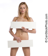 natural nude woman holding empty white billboard - natural...